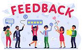 Customer feedback assessment flat vector illustration