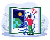 Tangled boy reading scientific book