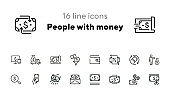 People with money line icon set