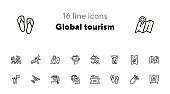 Global tourism icon set