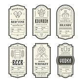 Various vintage alcohol bottle labels se