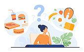 Cartoon woman choosing between healthy meal and unhealthy food