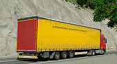 Truck for the international transport of products and goods.