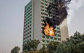 Explosion in the building. The building is burning