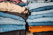 Jeans pants denim clothing in pile