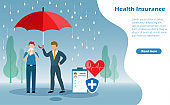 Man sneezing in the rain with insurance agent holding umbrella for health protection. Idea for  health insurance
