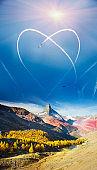 Inversion heart over the Matterhorn