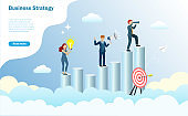Business goal, vision and strategy concept.Business Team standing at graph in cloudy sky with binocular searching for successful target