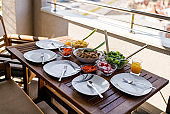 Place setting for lunch on a terrace!