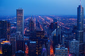 Chicago downtown evening dark time cityscape view