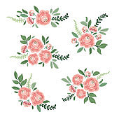 Cute botanical theme floral background with bouquets of hand drawn rustic roses flowers and leaves branches, neutral colors