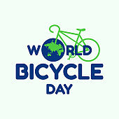 Letter World Bicycle Day on June 3 with world map