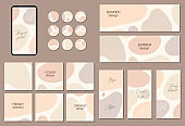 Beautiful feminine set of square, vertical, horizontal and circle social media templates with minimal abstract organic shapes composition in trendy contemporary collage style