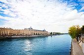Seine river in Paris and Anatole France embarkment