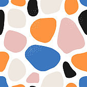 Trendy hand drawn organic shapes seamless repeating pattern
