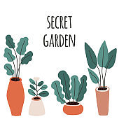 Cute home gardening theme illustration, trendy hand drawn plants in pots in simple flat style