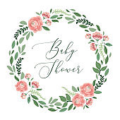Cute botanical theme floral frame background with bouquets of hand drawn rustic roses and leaves branches in neutral colors