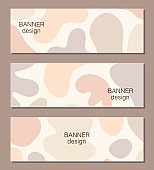 Beautiful set of feminine social media banner templates with minimal abstract organic shapes composition in trendy contemporary collage style