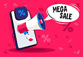 Vector illustration of a smartphone with a speaker, a cloud with the text mega sale