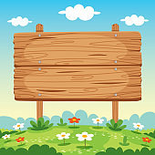 Blank Wooden Sign Board Illustration