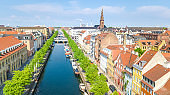 Beautiful aerial view of Copenhagen skyline from above, Nyhavn historical pier port and canal with color buildings and boats in the old town of Copenhagen, Denmark