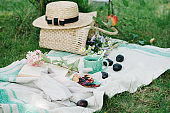 Picnic wicker basket with food on on the grass. Picnic concept.