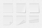 Set of vector white paper adhesive stickers