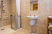 Indoor home bathroom for elderly or disabled