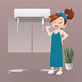 Woman sleepless because of the broken air conditioner at night