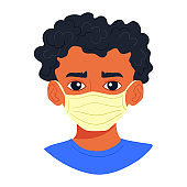Portrait of young african man wearing sterile disposable medical face mask for coronavirus protection. Covid-19 pandemy black male character avatar, cartoon style boy isolated on white background.