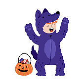 Halloween funny purple wolf werewolf with a bucket of candy. Kids costume party. Cute childish illustration of magic character with elements in cartoon hand-drawn style. Vector isolated on a white