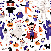 Halloween kids costume party seamless pattern. Children in various costumes. Vector illustration of Halloween characters, lettering, candy, and elements in cartoon hand-drawn style. White background