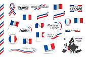 Big set of French ribbons, symbols, icons and flags isolated on a white background, Made in France, Welcome to France, premium quality, French tricolor, set for your infographics and templates