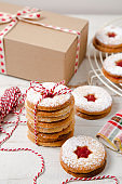Linzer Christmas cookies ready as a present