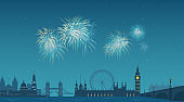 Sights of London panoramic illustration. Fireworks display in the sky over the city. Old and modern landmark buildings illuminated. Places of interest, famous places at night.