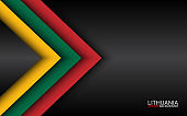 Modern vector overlayed arrows with Lithuanian colors and grey free space for your text, overlayed sheets of paper in the look of the Lithuanian flag, Made in Lithuania, abstract widescreen background