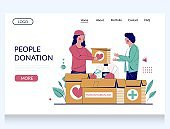 People donation vector website landing page template