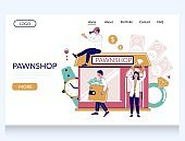 Pawn shop vector website landing page template
