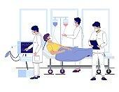 Hospital corona virus treatment, vector flat illustration