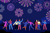 Vector illustration in flat cartoon simple style with characters - people watching fireworks exploding in the night sky