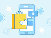 Vector illustration in flat simple style  - contactless delivery