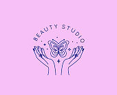 Vector set of abstract logo design template in simple linear style - hands and butterfly