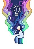 Vector layered paper cut style science learning composition