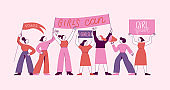 Vector illustration - greeting card and banner for international women's day