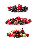Fruits, berries isolated on white background. Fruits and berries with copy space for text. Currant, blueberry, strawberry, cherry, gooseberry, mulberry, raspberry. Mixed berries isolated on white.