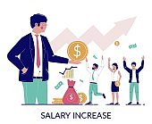 Salary increase, vector concept for web banner, website page