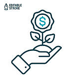 Money tree icon. Concept of money growth. Hand holds plant with coin tree. Outline vector icon with editable stroke