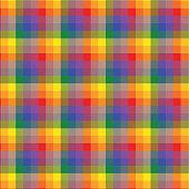 LGBT rainbow colored flag, plaid background, pride symbol, seamless tartan pattern, colorful stripes