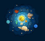Solar system, vector layered paper cut style illustration