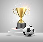 Soccer championship winner award, vector realistic illustration